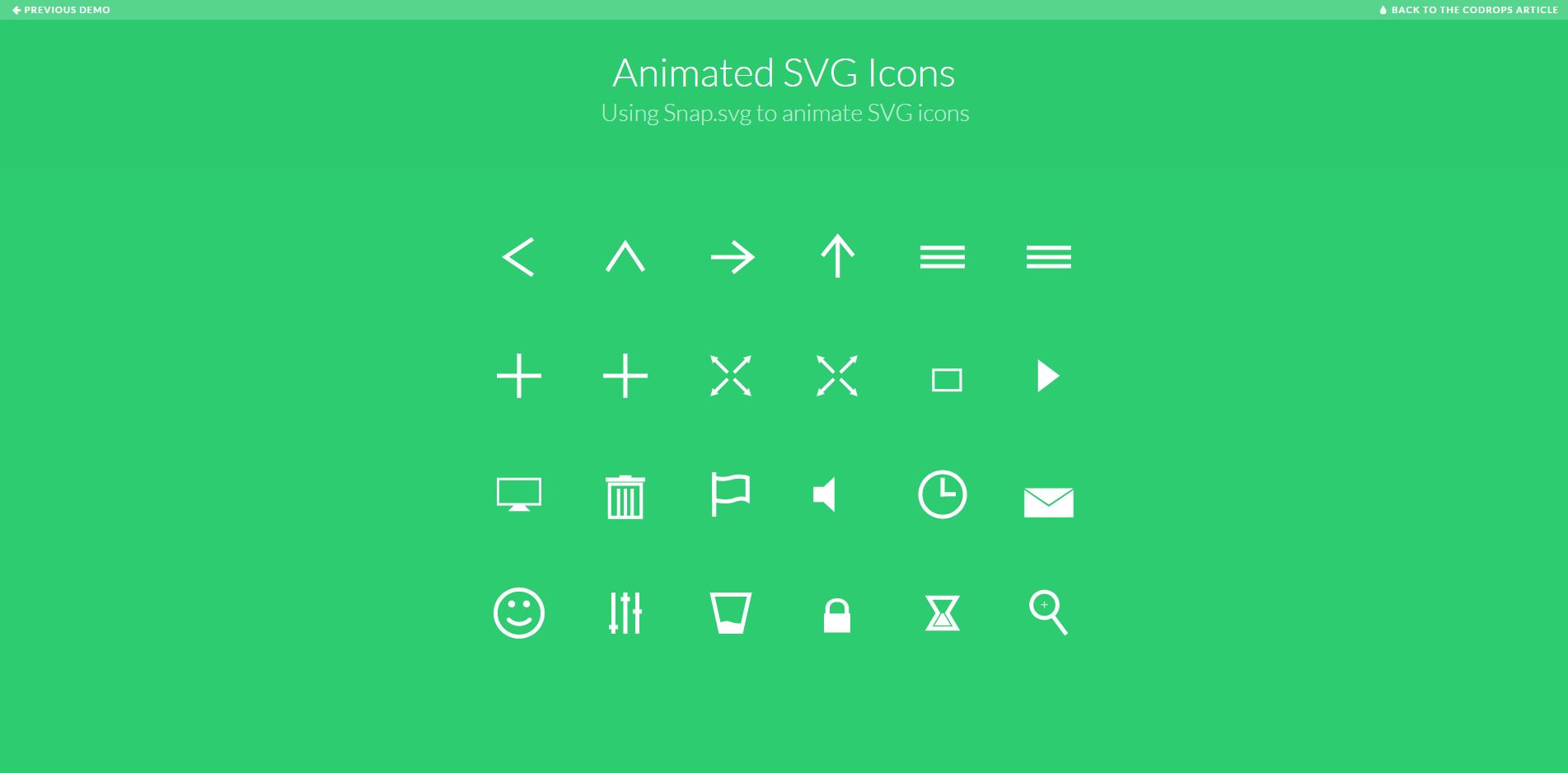 trend web design 2015 esempio icone SVG Animate