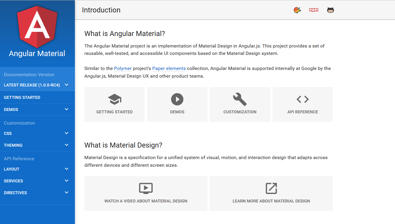 Implementare Angularjs Material Design